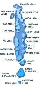 Maldives - map of the atolls