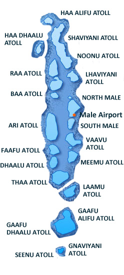 Maldives - map of the atolls