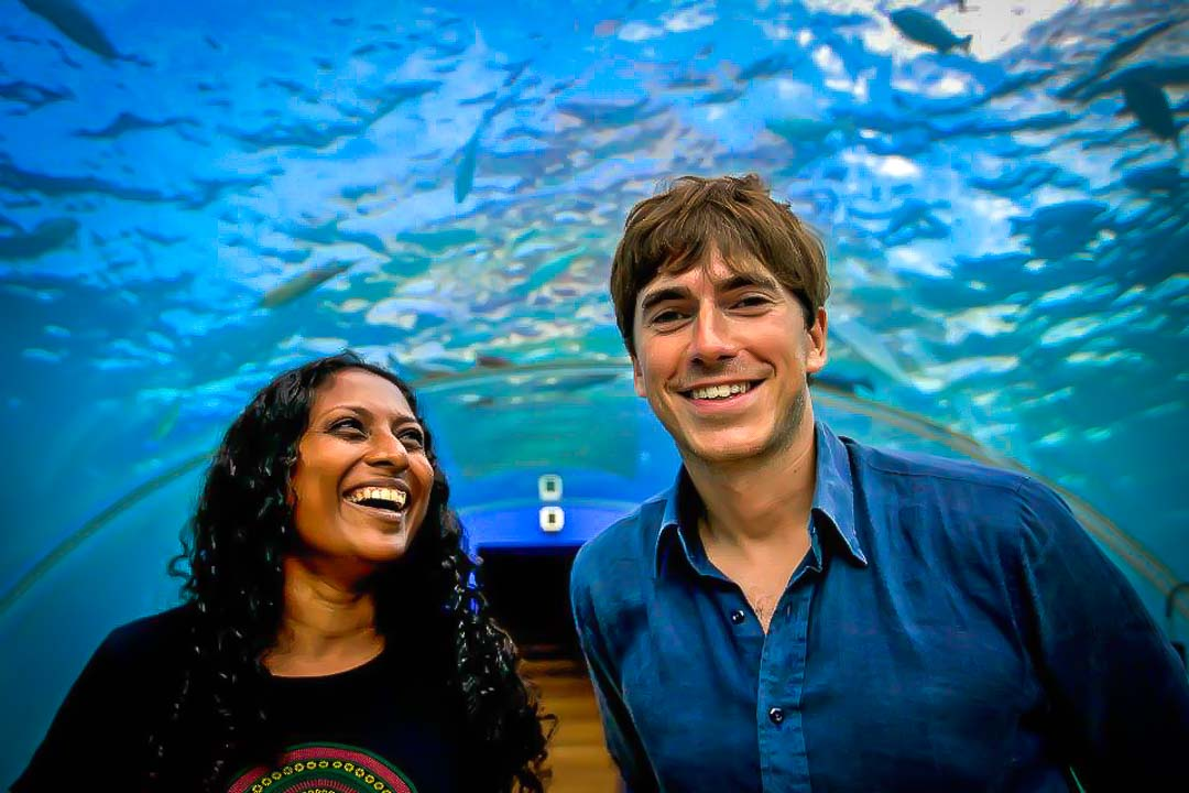 "Marie with BBC's Simon Reeve, filming ""The Indian Ocean"" TV series"