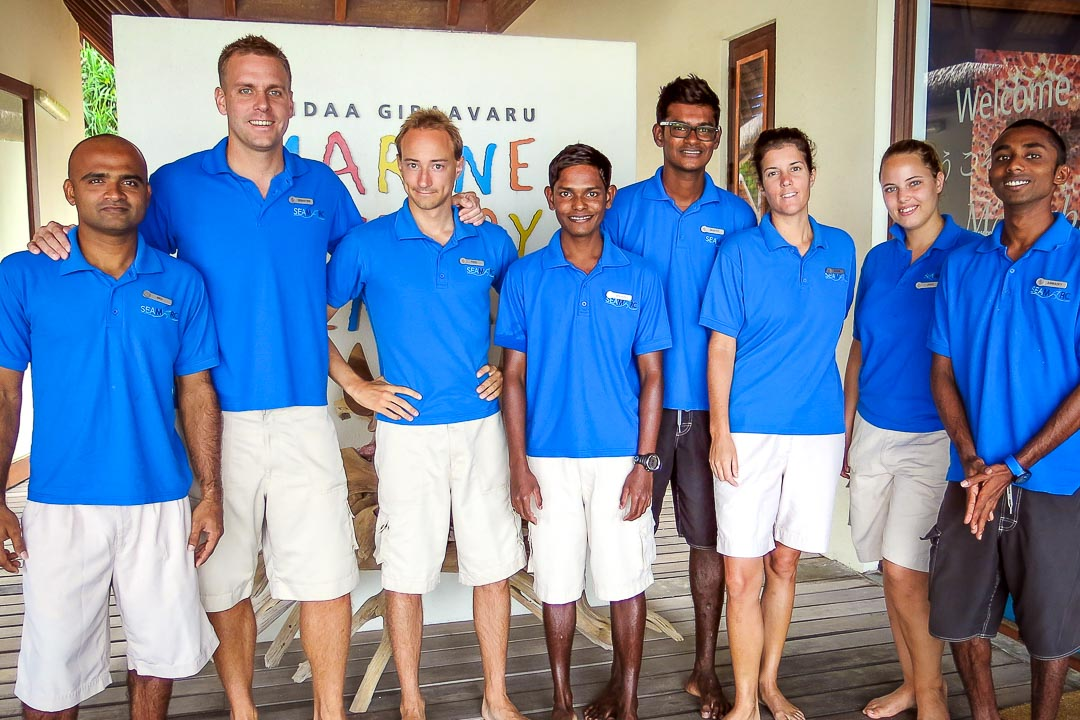 Our team of Marine Biologists at Landaa Giraavaru's Marine Discovery Centre